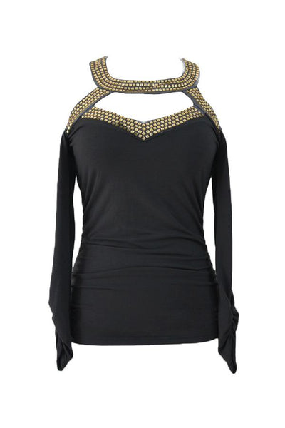 Round Neck  Diamante  Plain T-Shirts