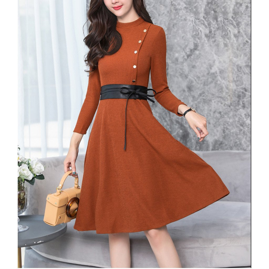 Round Collar Long-Sleeved Slim Expansion Skater Dress