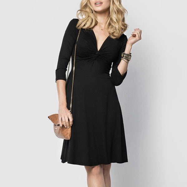 Sexy Deep V Collar Solid Color Expansion Skater Dress With Plus Size