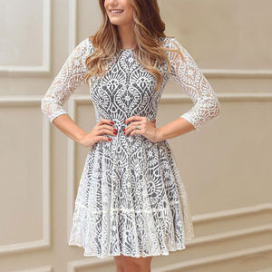 Round Collar Sexy Lace Slim Expansion Skater Dress