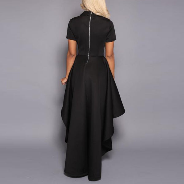 Short-Sleeved Lotus Leaf Irregular Expansion Maxi Dress