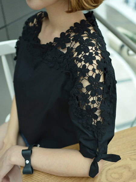 Cotton V-Neck Decorative Lace Plain Short Sleeve Blouse
