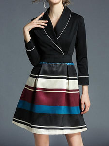 Ladies New Stripe Printing Hit Color Long Dress