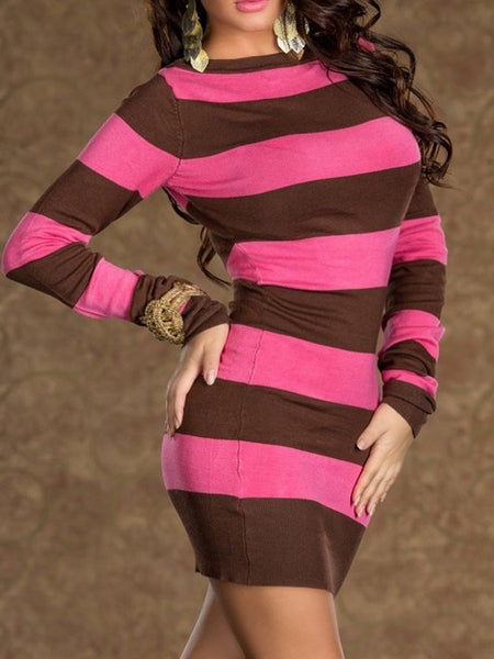Round Neck  Long Sleeve Bodycon Dresses
