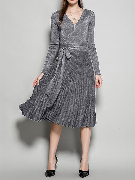 Women's New V-Neck Long Sleeve Knit Silk Pleated Dress