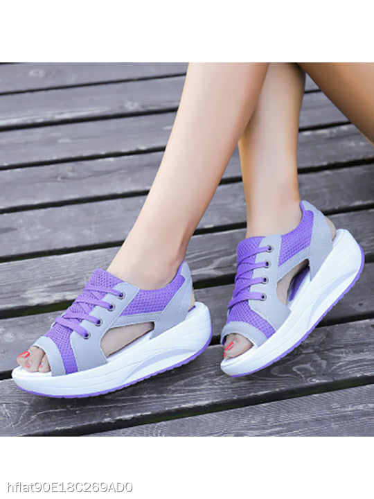 Color Block Low Heeled Criss Cross Peep Toe Casual Sneakers