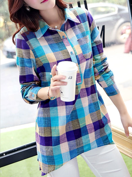 Turn Down Collar Decorative Button Plaid Long Sleeve Blouses