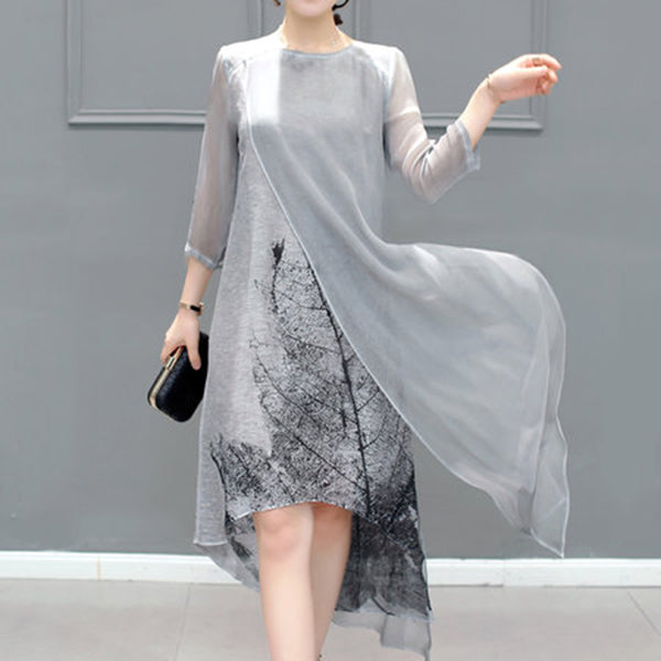 Gray Asymmetrical Printed Casual Shift Dress