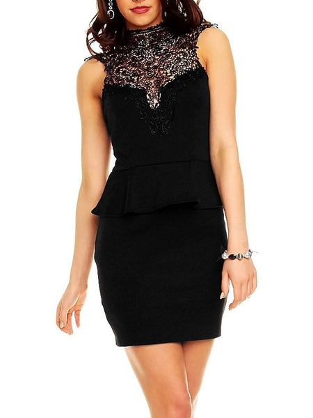 Band Collar  Decorative Lace  Plain Bodycon Dress