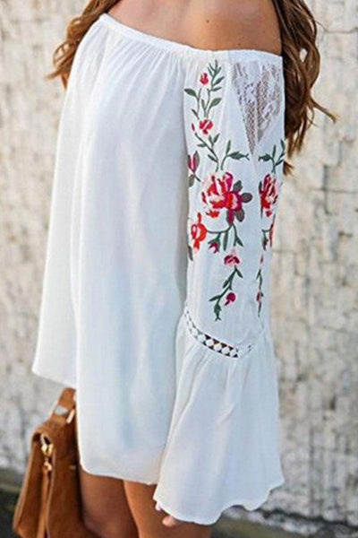 Off Shoulder Embroidery Plain Bell Sleeve Blouses