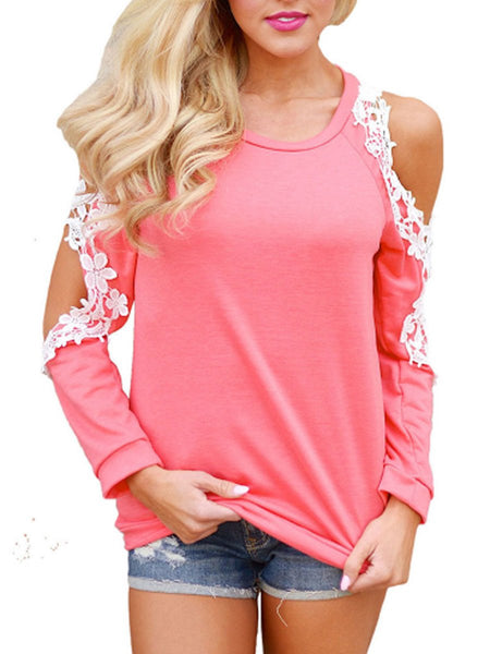 Round Neck Decorative Lace Patchwork Hollow Out Plain Raglan Sleeve Long Sleeve T-Shirts