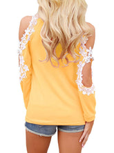 Load image into Gallery viewer, Round Neck Decorative Lace Patchwork Hollow Out Plain Raglan Sleeve Long Sleeve T-Shirts