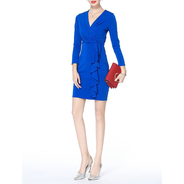 Sexy V Collar Long-Sleeved Solid Color Bodycon Dress