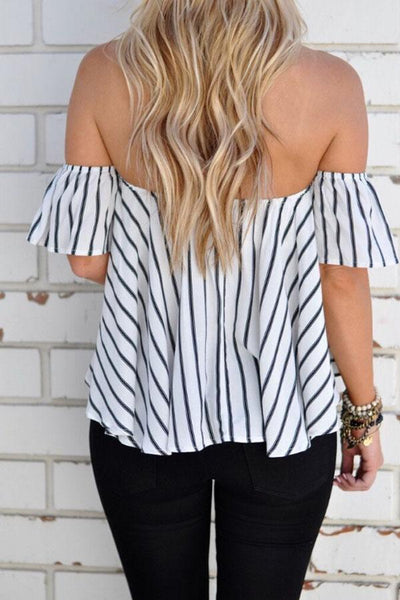 Off Shoulder  Ruffled Hem  Striped  Bell Sleeve T-Shirts