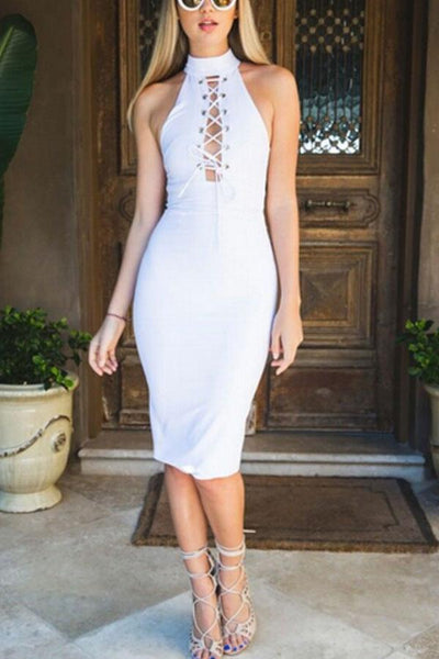 High Neck  Lace Up  Plain  Sleeveless Bodycon Dresses