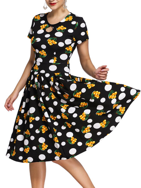 Vintage Polka Dot Printed Keyhole Inverted Pleat Round Neck Skater Dress