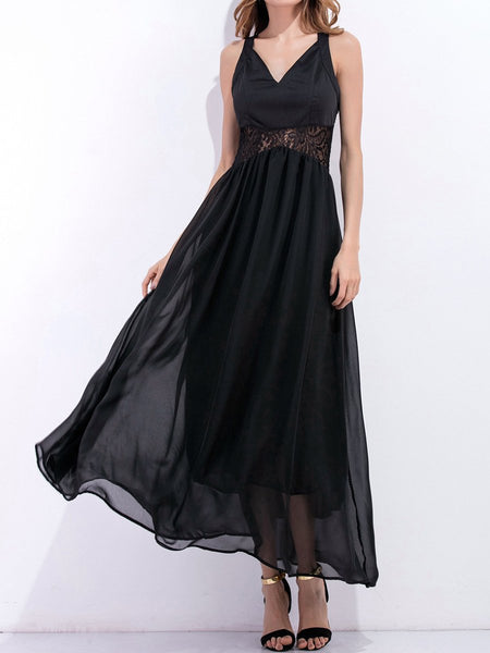 Spaghetti Strap Patchwork Hollow Out Plain Evening Dress