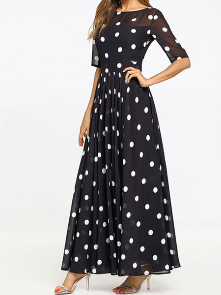 Round Neck Ruffled Hem Printed Maxi Dresses