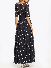 Load image into Gallery viewer, Round Neck Ruffled Hem Printed Maxi Dresses