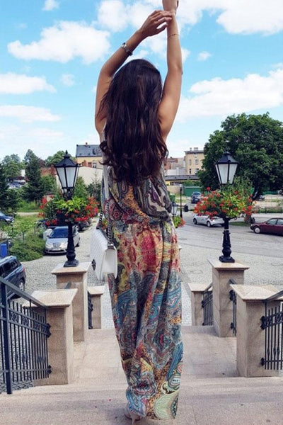 Halter  Printed  Sleeveless Maxi Dresses