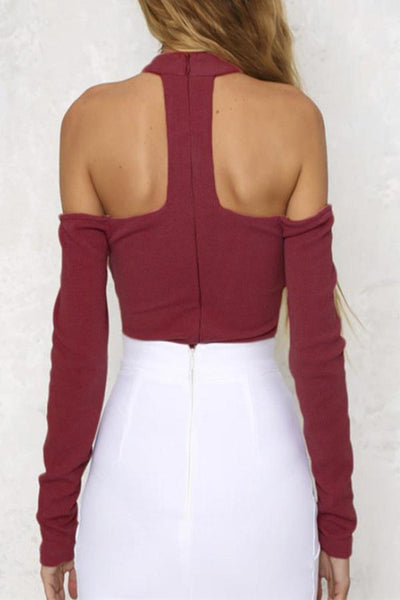 Open Shoulder Lace Up Plain Bodysuits