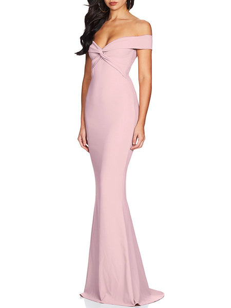 Off Shoulder Plain Evening Dress