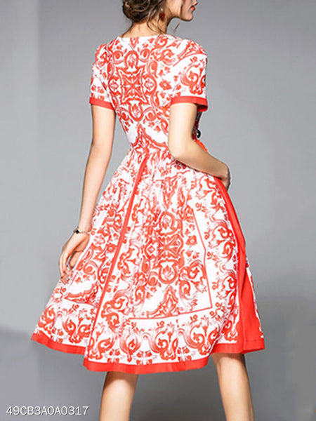Square Neck Tribal Printed Skater Dress