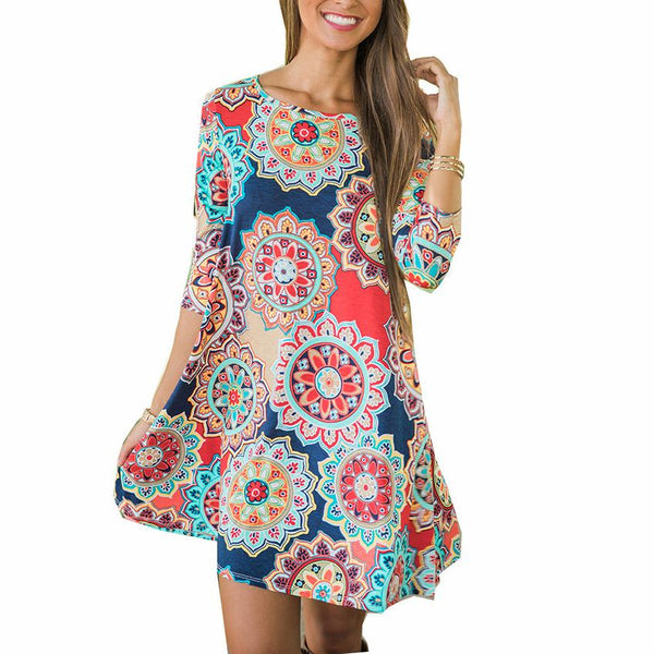 Bohemia Printing 3/4 Sleeve Folk-Custom Vacation Skater Dress