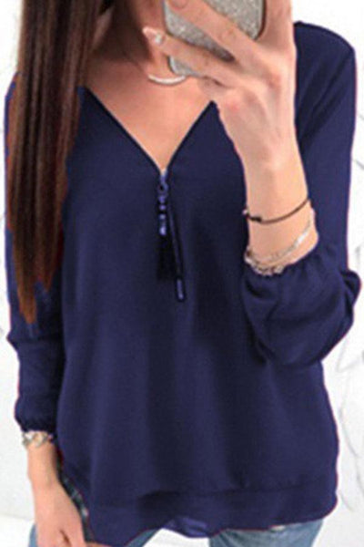 V Neck Cross Straps Zipper Plain Blouses
