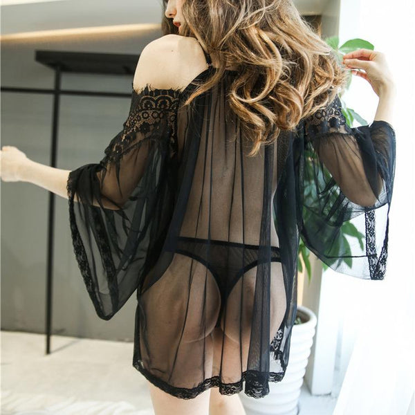 Sexy Lace Off-Shoulder Perspective Nightdress Shift Dresses