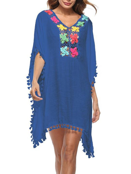 V-Neck Tassel Applique Hollow Out Shift Dress
