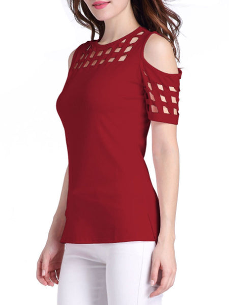 Summer  Polyester  Women  Open Shoulder  Hollow Out Short Sleeve T-Shirts