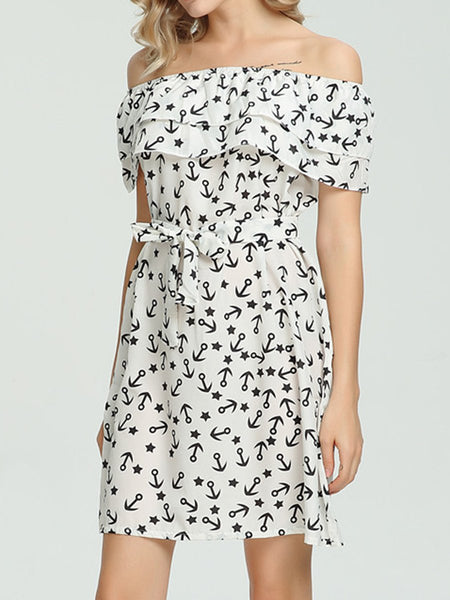 Open Shoulder  Abstract Print Bodycon Dress
