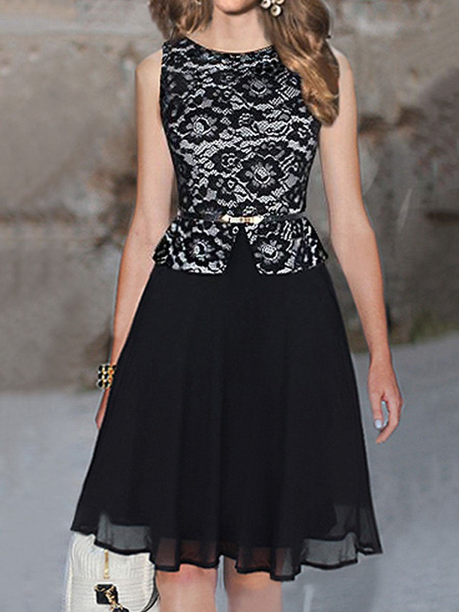 Round Neck Patchwork Peplum Belt Skater Dress
