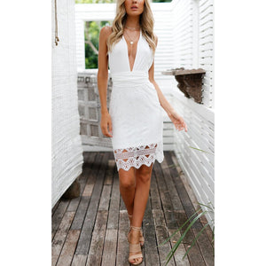 Bohemia Sexy Deep V Collar Lace Stitching Package Hip Bodycon Dress