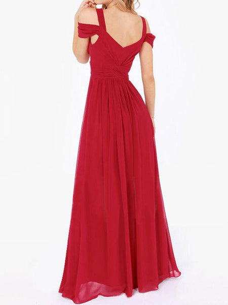 Open Shoulder High Slit Plain Chiffon Empire Evening Dress