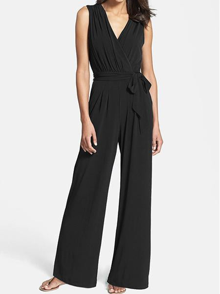 Women's New Sleeveless V-Neck Wide Leg Jumpsuit