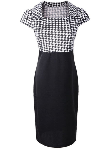 Square Neck Houndstooth Bodycon Dress
