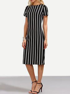 Vertical Striped Bodycon Dress