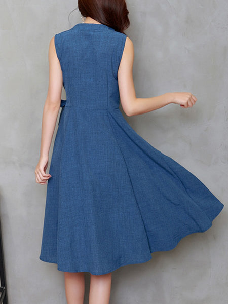 Elegant V-Neck Bowknot Plain Skater Dress