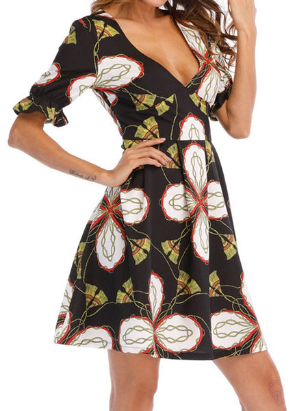 Deep V-Neck Printed Skater Dress