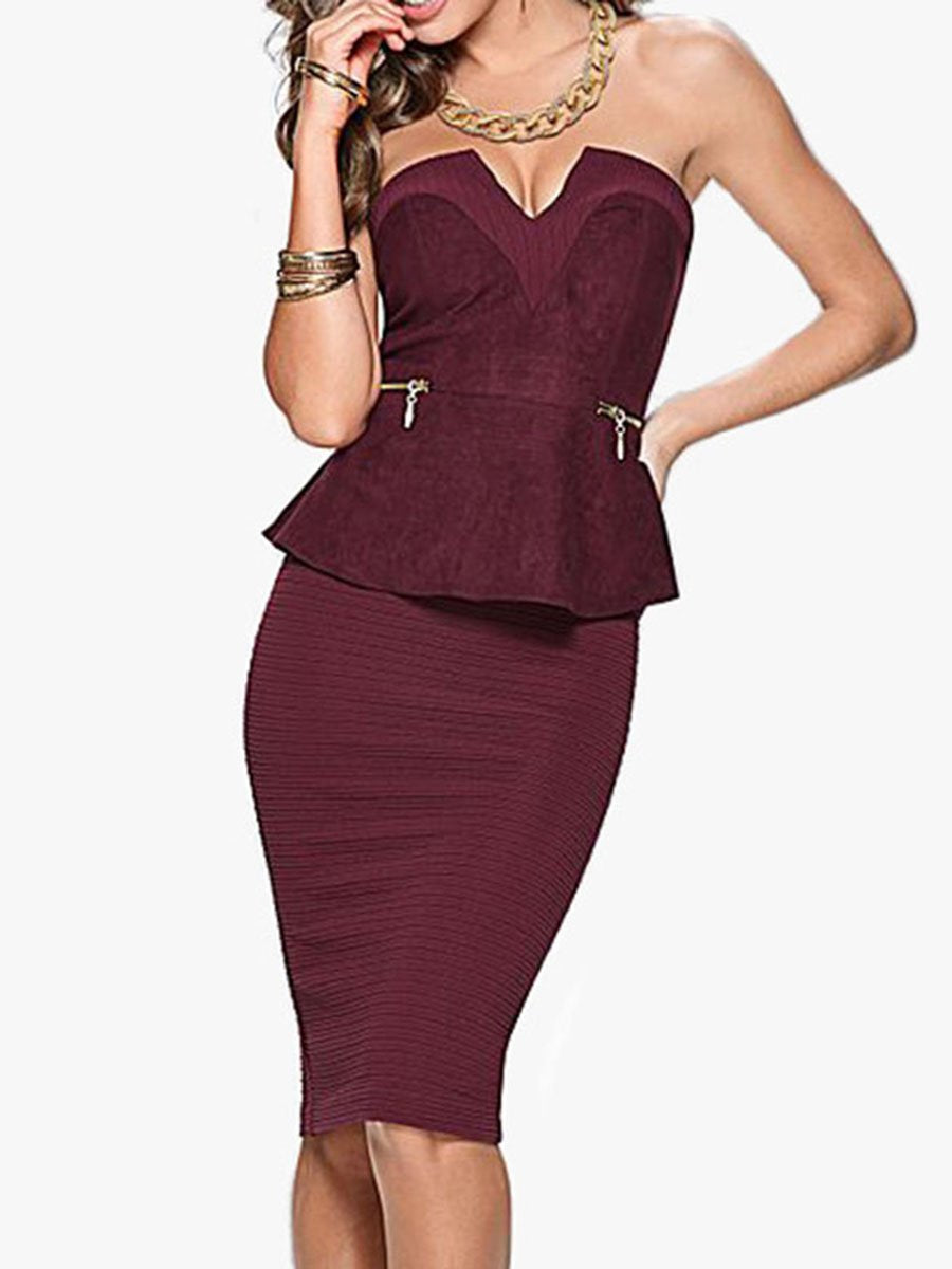 Open Shoulder Plain Bodycon Dress