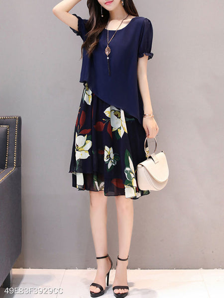 Round Neck Floral Printed Chiffon Skater Dress