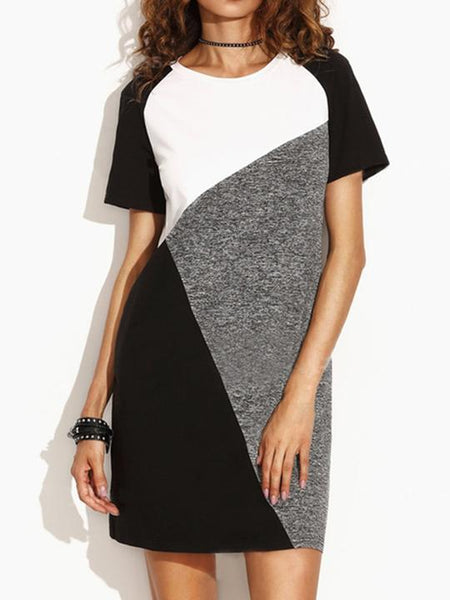 Round Neck Patchwork Color Block Shift Dress