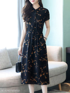 Band Collar Drawstring Floral Printed Midi Skater Dress
