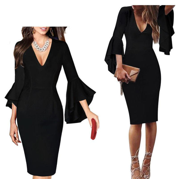 Sexy Deep V-Neck Horn Sleeve Waist Long Dress