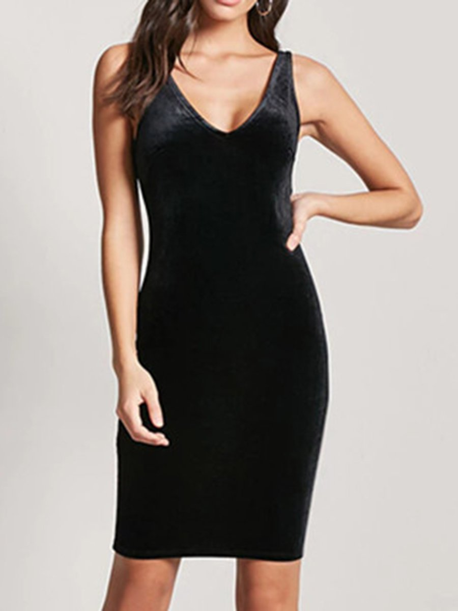 Collarless Plain Bodycon Dress