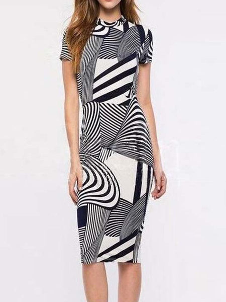 Band Collar Geometric Bodycon Dress