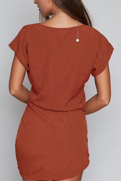 Round Neck  Bow  Belt  Plain  Batwing Sleeve  Extra Short Sleeve Bodycon Dresses
