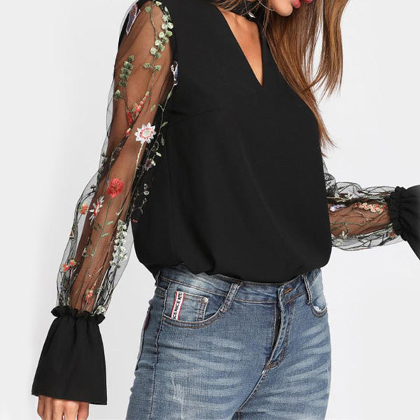 V-Neck Chiffon Embroidery Blouse